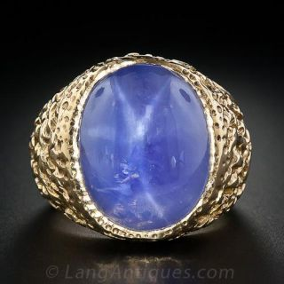 Star Sapphire Gent's Ring in Textured Yellow Gold - 2