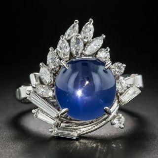 Star Sapphire Platinum Diamond Cocktail Ring - 1