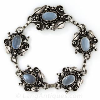 Sterling and Moonstone Bracelet and Earrings Reminiscent of a Jensen Style