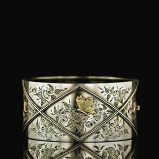 Sterling-Butterfly-Motif-Cuff-Bracelet--Circa-1900-Main-View