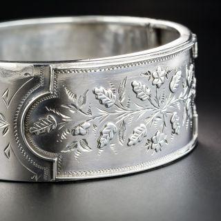 Sterling Silver English Victorian Wide Bangle Bracelet