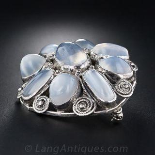 Sterling Silver Moonstone Brooch