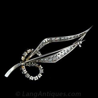 Stylized Leaf Pin in Diamonds