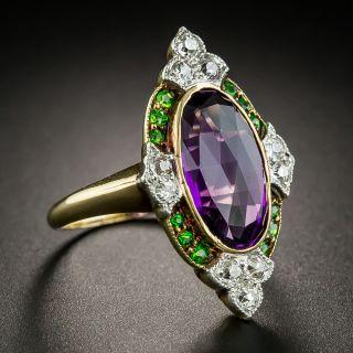 Suffragette Amethyst Demantoid Diamond Dinner Ring