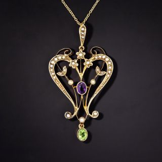 Suffragette Peridot, Amethyst and Seed Pearl Lavaliere - 1