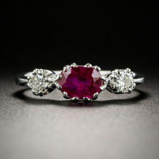 Swedish No-Heat Burmese Ruby and Diamond Three-Stone Ring - GIA - 2