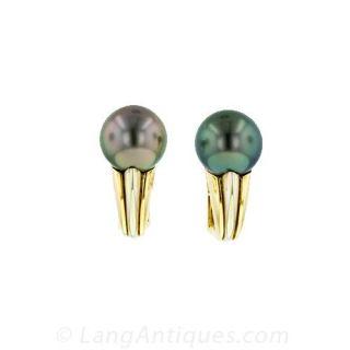 Tahitian Pearl Gold Earrings