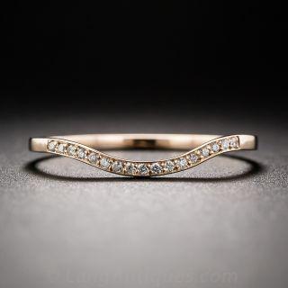 Thin Rose Gold Diamond Contoured Wedding Band - 6