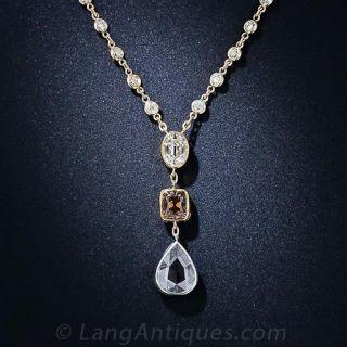 Three Diamond Pendant Necklace