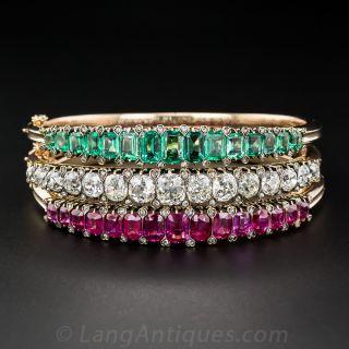 Victorian Diamond, Ruby and Emerald Matched Bangle Set