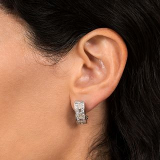 Three-Row Diamond Semi-Hoop Earrings
