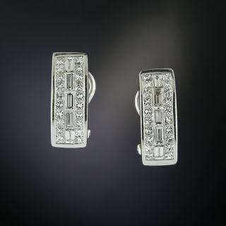 Three-Row Diamond Semi-Hoop Earrings - 2