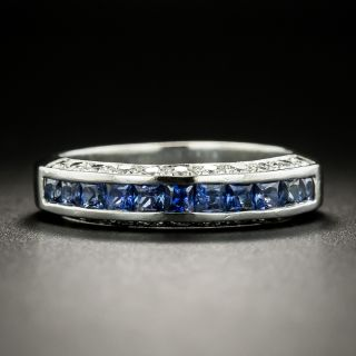 Three-Row Sapphire and Diamond Band - 2