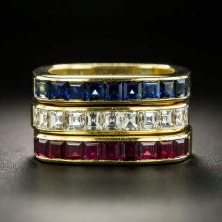 Three Stackable Diamond, Sapphire, and Ruby Bands - Swiss - 2