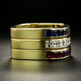 Three Stackable Diamond, Sapphire, and Ruby Bands - Swiss
