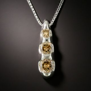 Three Stone 1.50 Carat Natural Brown Diamond Necklace - 1