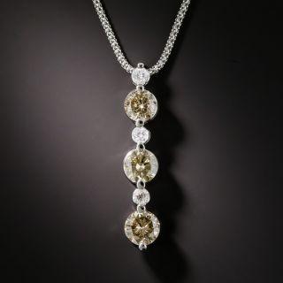 Three-Stone 2.51Cts. Fancy Color Diamond Pendant Necklace - 1