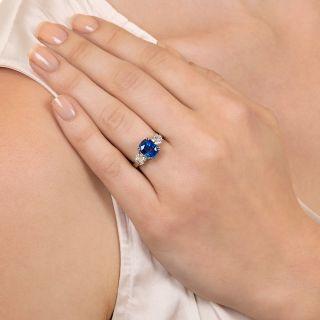 3.75 Carat No-Heat Ceylon Sapphire and Diamond Ring - GIA