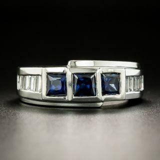 Three-Stone Sapphire and Diamond Band Ring - 2