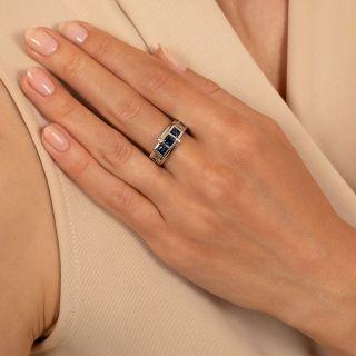 Three-Stone Sapphire and Diamond Band Ring