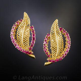 Tiffany 18K Ruby Leaf Earrings - 1
