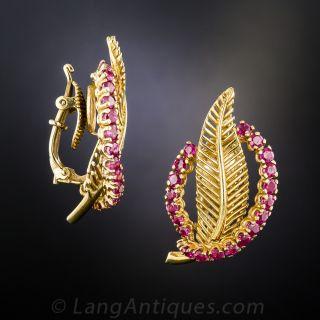Tiffany 18K Ruby Leaf Clip Earrings