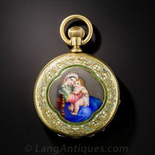 Tiffany & Co. Enameled Ladies Pocket Watch