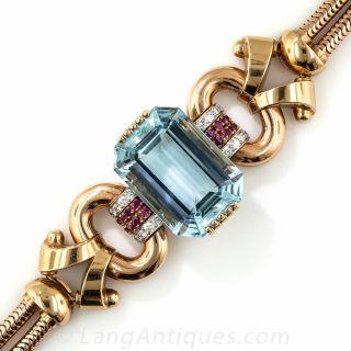 Tiffany & Co. Retro Aquamarine, Diamond and Ruby Bracelet  - 1