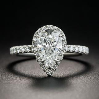 Tiffany & Co 1.34 Carat Pear Shape Diamond Halo Ring - 1