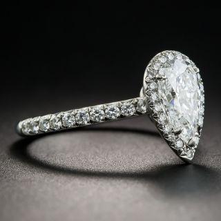 Tiffany & Co 1.34 Carat Pear Shape Diamond Halo Ring