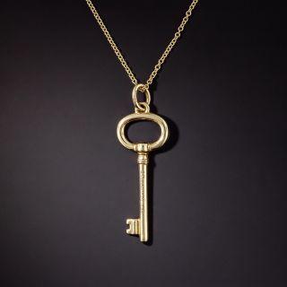 Tiffany & Co. 18K Gold Key Pendant - 1