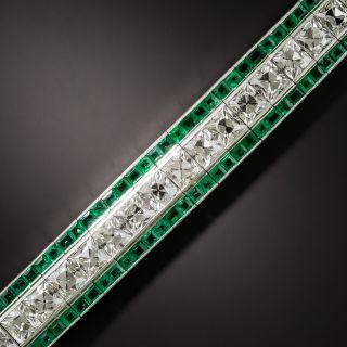Tiffany & Co. Art Deco French-Cut Diamond and Calibre Emerald Bracelet - 2