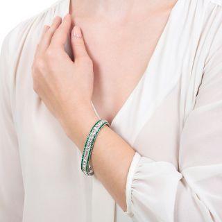 Tiffany & Co. Art Deco French-Cut Diamond and Calibre Emerald Bracelet