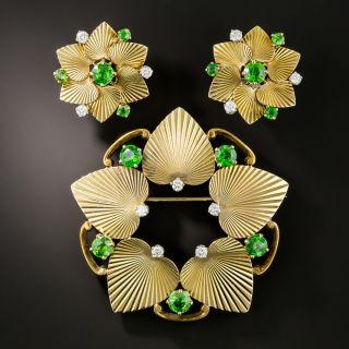 Mid-Century Tiffany & Co. Demantoid Garnet and Diamond Earrings & Brooch - 3