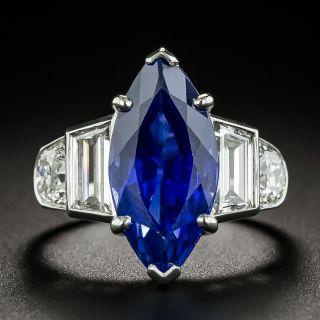 Tiffany & Co. Late-Art Deco 6.60 Carat Marquise No-Heat Ceylon Sapphire and Diamond Ring - AGL - 2