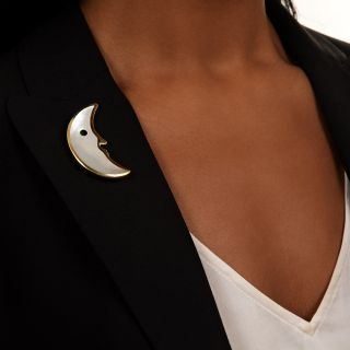 Tiffany & Co. Mother of Pearl Crescent Moon Brooch