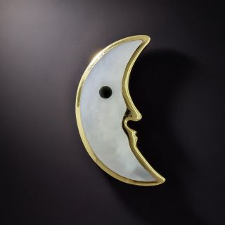 Tiffany & Co. Mother of Pearl Crescent Moon Brooch - 1