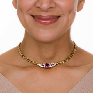 Tiffany & Co Pink Sapphire and Diamond Necklace