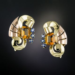 Tiffany & Co. Retro Citrine and Sapphire Earrings - 3