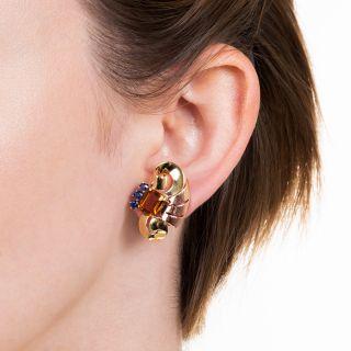 Tiffany & Co. Retro Citrine and Sapphire Earrings