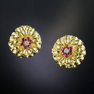 Tiffany & Co. Ruby and Diamond Clip Earrings  - 2