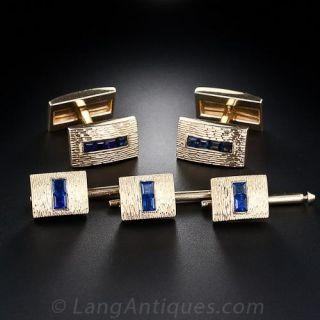 Tiffany  & Co, Sapphire Cufflinks and Stud Set