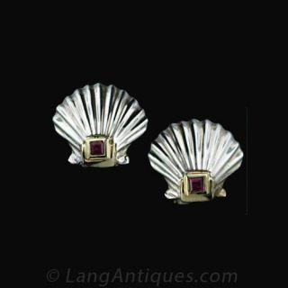 Tiffany   Co. Scallop Shell Earrings Main View