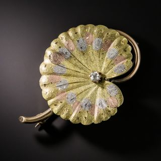 Tr-Color Gold Lily Pad Brooch - 2