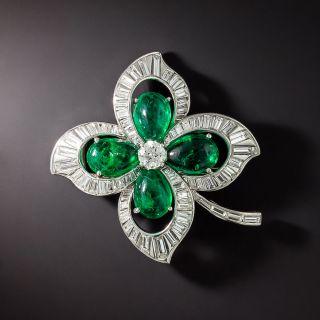 Trabert, Hoeffer & Mauboussin Emerald and Diamond Four Leaf Clover Brooch - 1