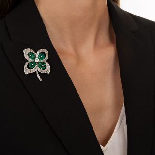Trabert, Hoeffer & Mauboussin Emerald and Diamond Four Leaf Clover Brooch