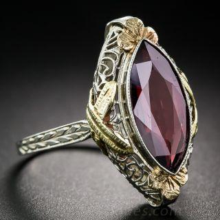 Tri-Color Gold Garnet Art Deco Ring