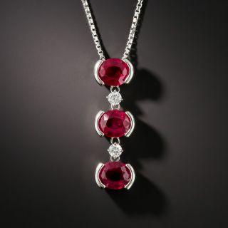 Triple Burma Ruby Platinum Diamond Necklace - GIA - 1