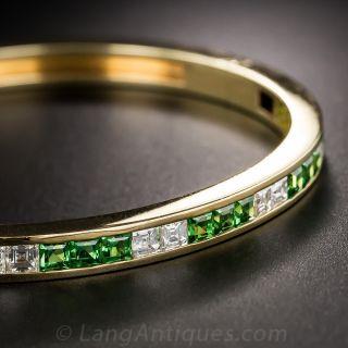 Tsavorite Garnet and Diamond Bangle Bracelet