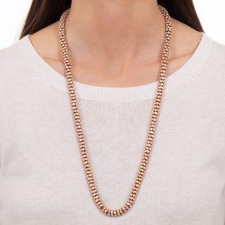 Tubular Diamond Rose Gold Necklace - 65.50 Carats